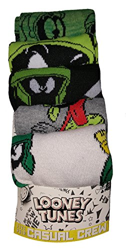 Looney Tunes Marvin the Martian 5 Pair Casual Crew Socks,Multicoloured,10-13