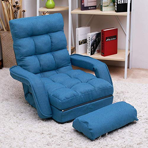 Adjustable Fabric Lazy Floor Sofa Chair Folding Chaise Lounge Single Couch Upholstered 5 Position Back Living Room Chairs Video Gaming Chair (Blue)