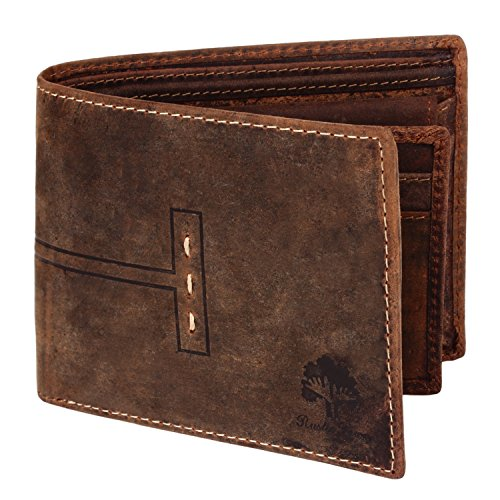 Luxury RFID Wallets RFID Blocking Leather Wallets gifts for Men (Dark Brown)