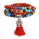 Jovivi 6mm Natural 7 Chakra Healing Crystal Gemstone Om Mani Padme Hum Buddhist Prayer 108 Beads Tibetan Mala Bracelet Necklace