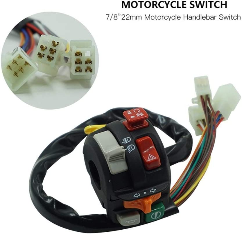 Motorrad-Lenker Steuerschalter Universal 7//822mm Motorrad Lenker Control Switch Mount Warnlicht Blinker Hupe Z/ündung Start /Überholen Licht Tasten Motorrad-Scheinwerfer-Zubeh/ör Motorrad-Teile