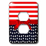 3dRose LSP_275461_6 Stripes and Stars - Cute Blue and Red USA Patriotism Ribbon Plug Outlet Cover,