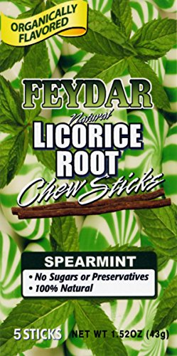 Feydar Industries Organically Flavored Spearmint Chew Sticks (Licorice Roots)(Pack of 5) - Licorice Root Menopause
