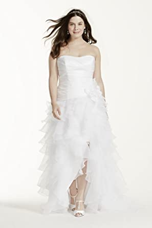 5415aff4350 Taffeta High Low Ruffled Plus Size Wedding Dress Style 9T3505, Ivory, 22W
