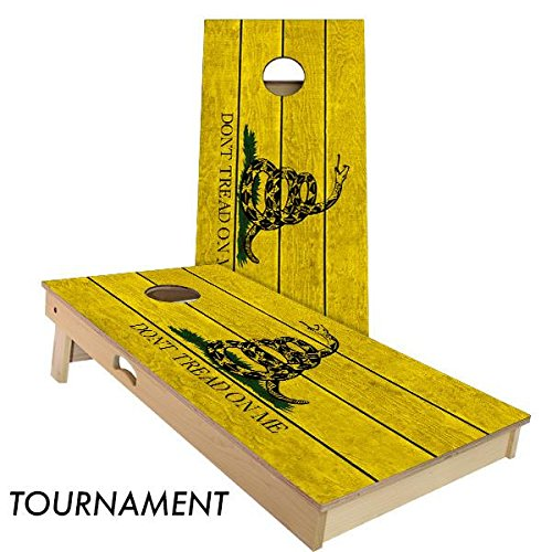 Don't Tread On Me Cornhole Board Set 4' by 2' Tournament size by Slick Woody's Cornhole Co.