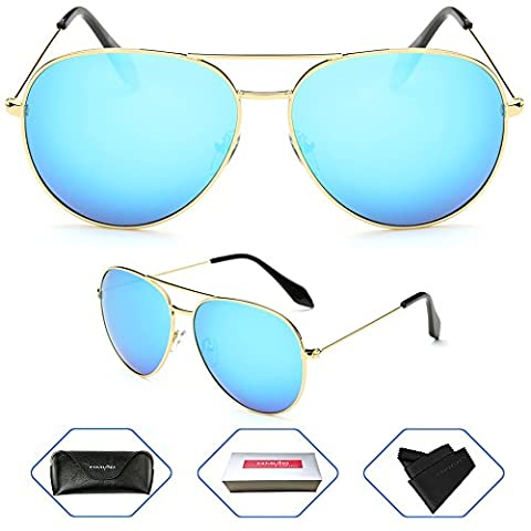 Aviator Polarized Sunglasses for Women by HIMAO,Flash Mirror Lens UV400 and Eyeglasses with Gold Frame (Gold Frame, Ice - Eyeglasses Light Blue Frame