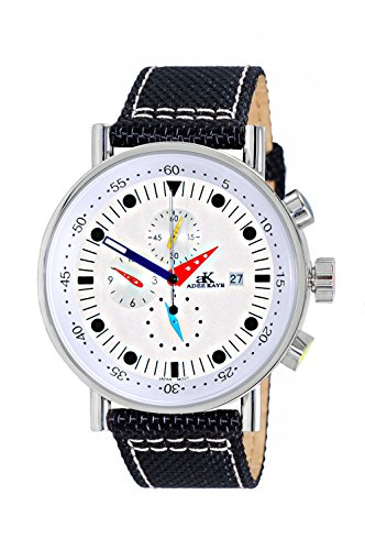Adee Kaye Men's Quartz Stainless Steel Sport Watch, Color Black (Model: AK2267-30_SV)
