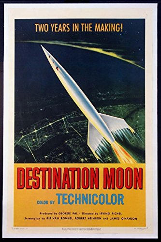 DESTINATION MOON GEORGE PAL ROCKET SCIENCE FICTION 1950 1-SHEET ON LINEN