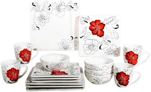 Amazon.com | Laurie Gates Laura 16-Piece Dinnerware Set, Service for 4:  Dish Set: Dinnerware Sets