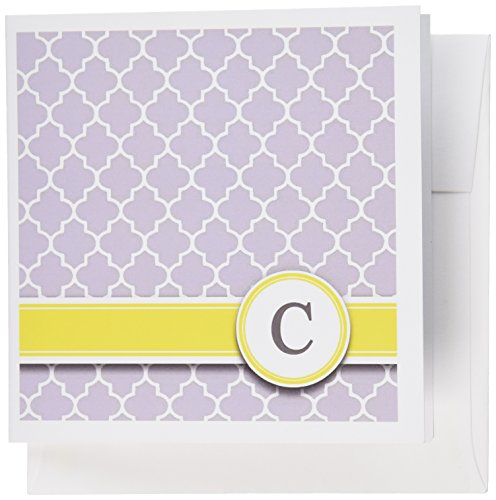 Initial Pattern - 3dRose Your personal name initial letter C - monogrammed grey quatrefoil pattern - Greeting Cards, 6 x 6 inches, set of 12 (gc_154569_2)