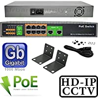USG Business Grade 10 Port PoE Gigabit Network Switch * 8x PoE Ports, 2x Gigabit Uplink Ports * 150W Internal Power Supply * 802.3af/at * True Plug-&-Play * Desktop or Rack Mount * 330ft Transmission