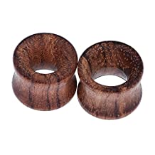 """D&M Jewelry 2pcs Vintage Brown Natural Wood Hollow Saddle Ear Tunnels Plugs Expander Ear Piercing Jewelry 0g-3/4"""""""