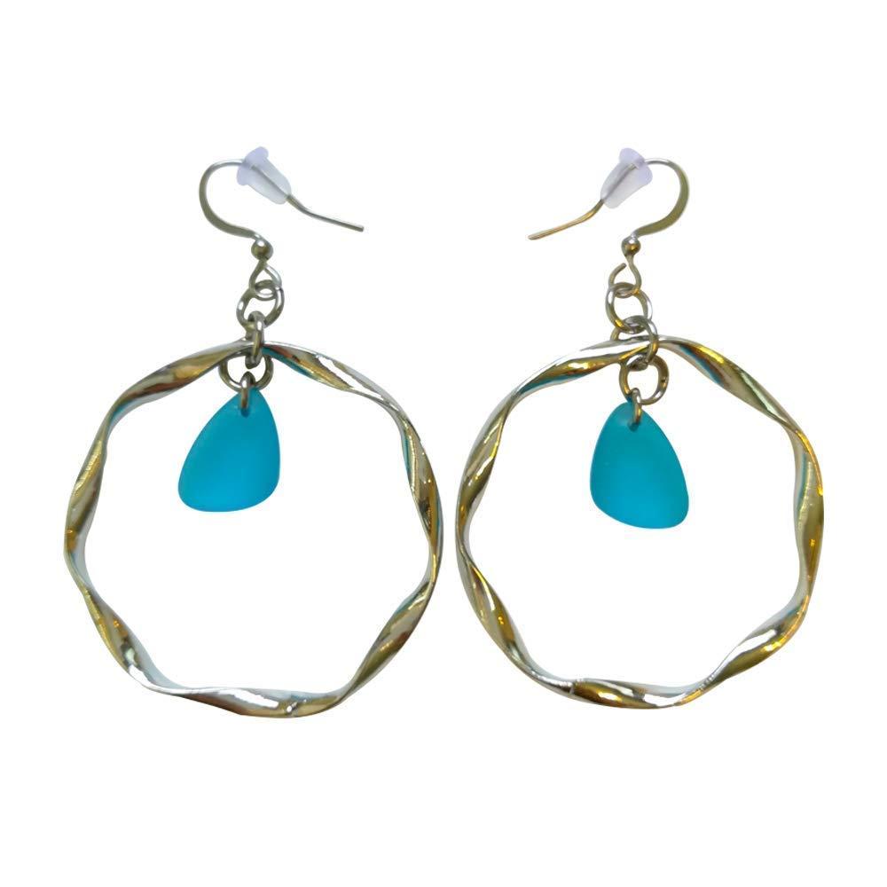 Light Blue Sea Glass Earrings Small 0.5 inch in Metal Ring Ocean Coast Hawaiian Foam Beach Prime Handmade Nautical Fashion Mermaid Tears Jewelry for Women and Girls gift Under 10 Dollars