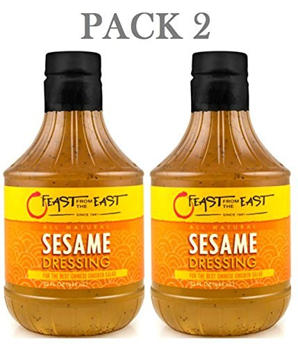 Set of 2 Feast from the East All Natural Sesame Salad Dressing - Large 32 fl oz/946ml each (Ingredients Dressing Salad)