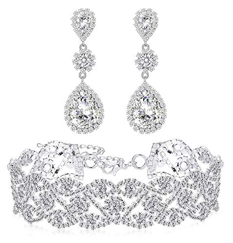 Paxuan Womens Silver Plated White Clear Rhinestone Crystal Wedding Bridal Choker Necklace Drop Earrings Set ()