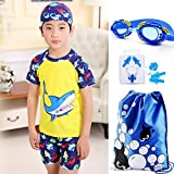 Monvecle Little Boys' 6-Pieces Short Sleeve Rash Guard Swimsuit Set with Swim Cap UPF 50+ Yellow 5-6y