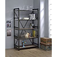 ACME Furniture Caitlin 92220 Bookshelf, Rustic Oak & black