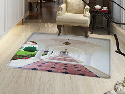 smallbeefly Travel Bath Mat for tub Dome Arched Colonnade Hallway at Sambata De Sus Monastery in Transylvania Romania Door Mats for inside Bathroom Mat Non Slip Backing White Green