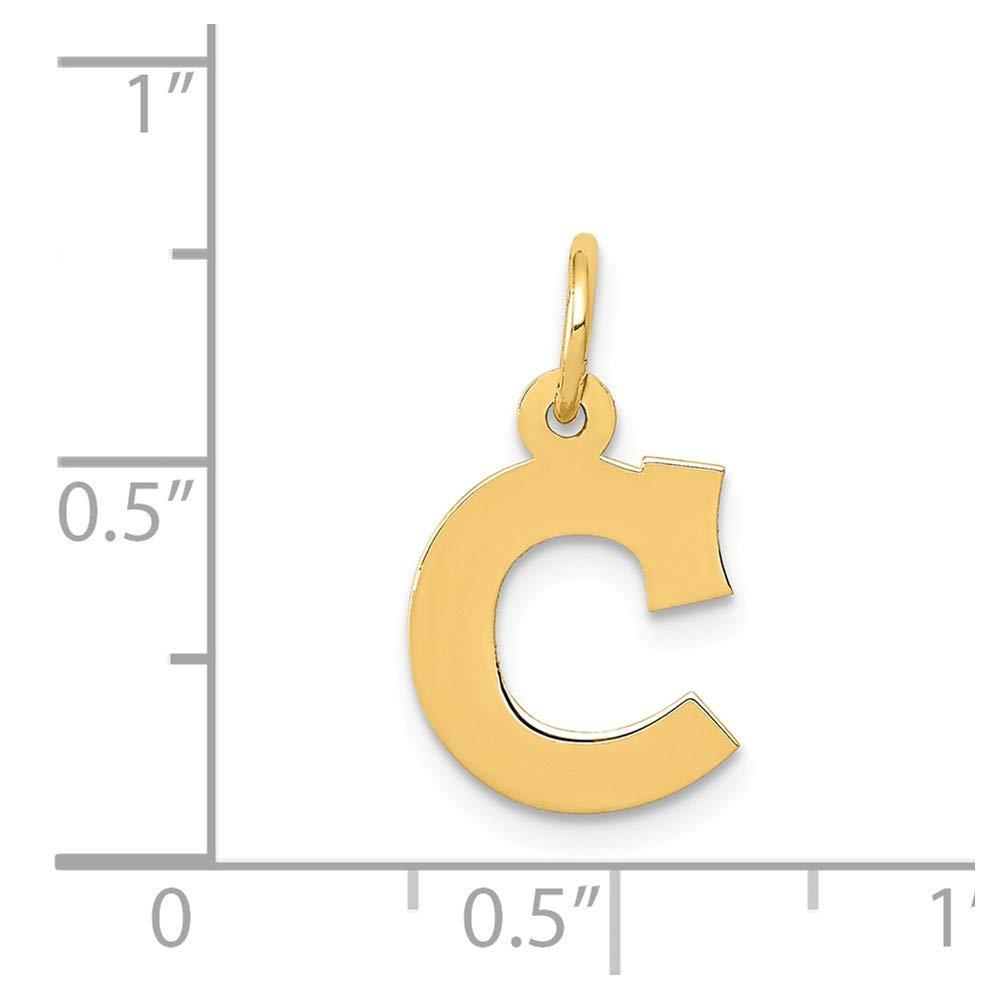 14k Yellow Gold Small Block Initial C Charm
