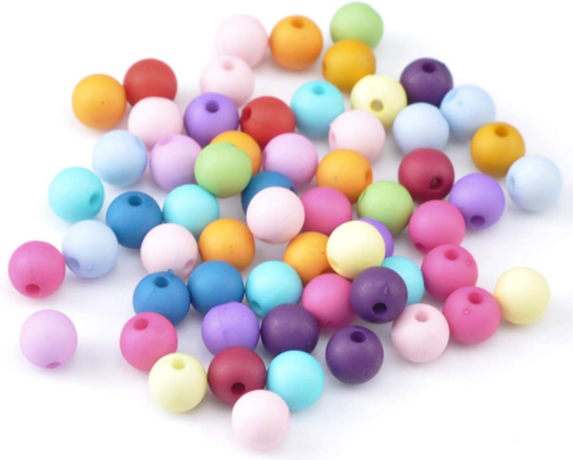 Sadingo Perlas acrílicas para enhebrar para niños, 300 unidades, 8 mm, mezcla de perlas multicolor, perlas mate, perlas de plástico