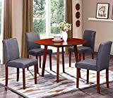 Harper&Bright Designs Windsor Series Round Wood Dining Table Set with 4 Chairs (Maroon) For Sale