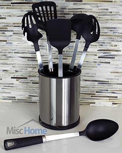 [UTENSILS + HOLDER] 6 Pcs Stainless Steel Kitchen Utensil Set + Stainless Steel Rotating Cooking Utensil Holder Premium Quality Stainless Steel Cooking Tools [Black]