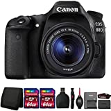 Canon EOS 80D 24.2MP DSLR Camera with 18-55mm Lens and Accessory Bundle