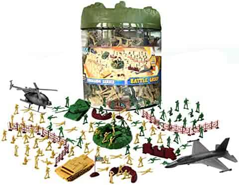 Elite Force Battle Group Army Men Play Bucket - 100 Piece Military Soldier Playset