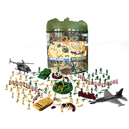 (Elite Force 100-Pieced Military Soldier Battle Group Army Man Play Bucket Playset with Tanks, Trucks, Helicopters, Border Walls, Fences, Soldiers and Other Battlefield Equipment)