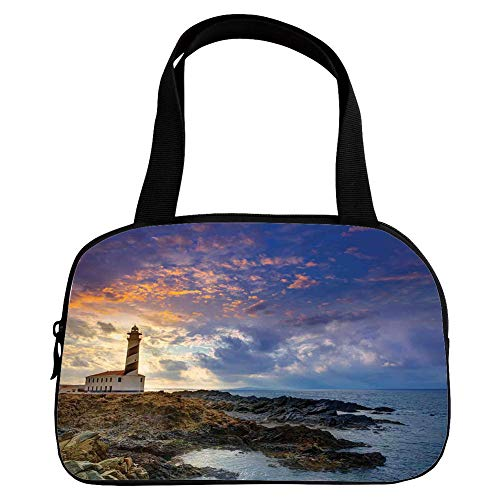 Multiple Picture Printing Small Handbag Pink,Lighthouse Decor,Cap de Favaritx Sunset Lighthouse Cape in Mahon at Balearic Islands of Spain Coast,for Girls,Comfortable Design.6.3