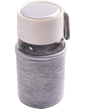 DaoRier Vidrio Botella de Agua Reutilizable no es Fácil de Desprenderse, Resistencia al Rayado,