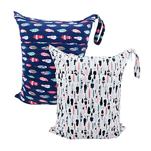 ALVABABY 2pcs Cloth Diaper Wet Dry Bags Waterproof Reusable with Two Zippered Pockets Travel Beach Pool Daycare Soiled Baby Items Yoga Gym Bag for Swimsuits or Wet Clothes L0130