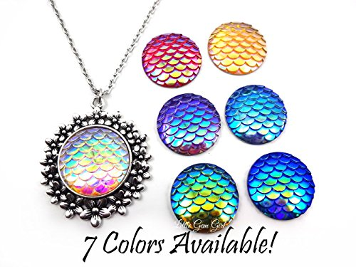 Fantasie Swimming Costume (One Large Silver Flower Round Mermaid or Dragon necklace pendant charm with 3D textured Color Shifting Scales - Red, Yellow, Green, Blue, Purple or Rainbow)