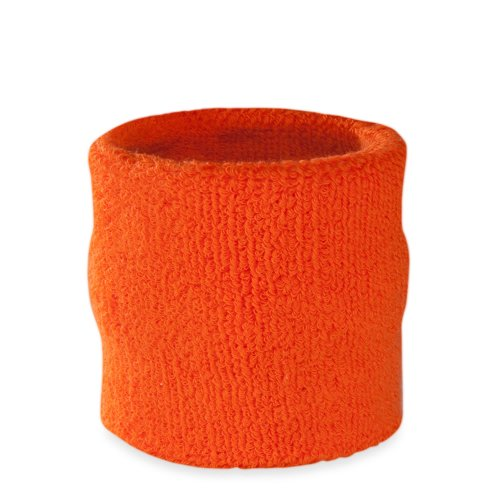 Suddora Wrist Sweatband - Athletic Cotton Terry Cloth Wristband for Sports (Orange)(1 Piece) (80s Basketball Costume)
