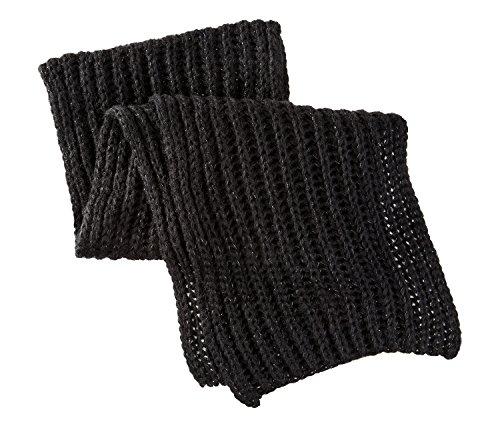 schimmernder Strickschal Winterschal 175 x 25 cm Schwarz oder Grau Schwarz 125 x 25 cm