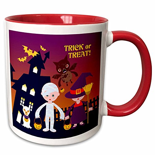 3dRose Belinha Fernandes - Halloween Celebration - Trick or treat message and kids dressed up as mummy and witch with dog ghost - 15oz Two-Tone Red Mug -