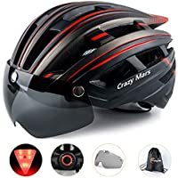 Crazy Mars Bicycle Helmet with Light and Magnatic Goggle (Multiple Colors)