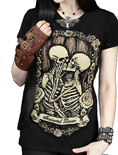 Women Romantic Immortal Lovers Skeleton t shirts Emo Gothic Psychobilly Top Tee