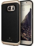 Galaxy S7 Edge Case, Caseology [Envoy Series] Premium Leather Bumper Cover [Carbon Fiber Black] Leather Bound Bumper Cover for Samsung Galaxy S7 Edge (2016) - Carbon Fiber Black