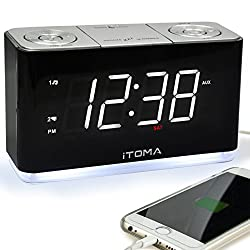 iTOMA Alarm Clock Radio, Digital FM Radio, Dual Alarm, Cell Phone USB Charge Port, Night Light, Auto & Manual Dimmer, Snooze, Sleep Timer, AUX-IN, Backup Battery (CKS507)