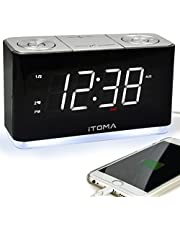 iTOMA Alarm Clock with FM Radio,Dual Alarm Clock,USB Charging and Snooze Function,1.8-inch LED Display with Aujustable Brightness