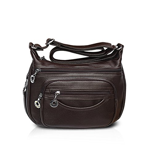 Women Brown PU Purse Hobo Bag Handbags Tote Crossbody Bag Leather NICOLE amp;DORIS Shoulder 2018 gwq1pE