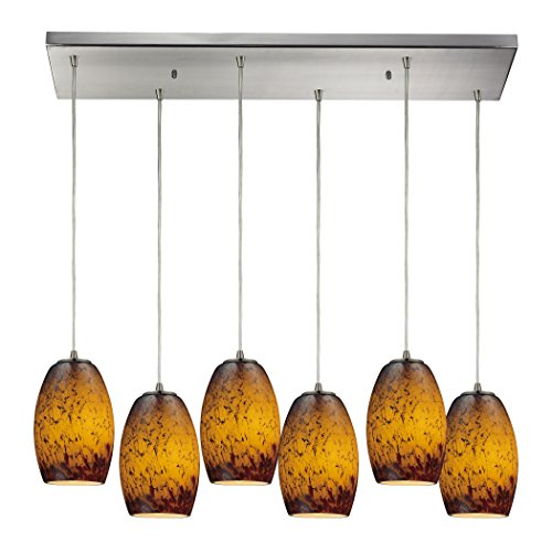 Alumbrada Collection Maui 6 Light Pendant In Satin Nickel And Sunset (Luminaria Maui)