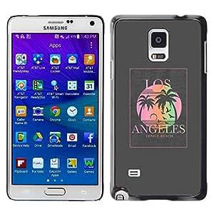 TopCaseStore / la caja del caucho duro de la cubierta de protección de la piel - Grey Poster Palm Tree Sun - Samsung Galaxy Note 4 SM-N910F SM-N910K SM-N910C SM-N910W8 SM-N910U SM-N910