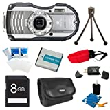 Pentax Optio WG-3 White 16 MP Digital Camera (White) Premiere Bundle Includes 8GB Memory Card, Reader, Battery, Case, Tripod, Floating Wrist Strap, Screen Protectors, & Lens Cleaning Kit.