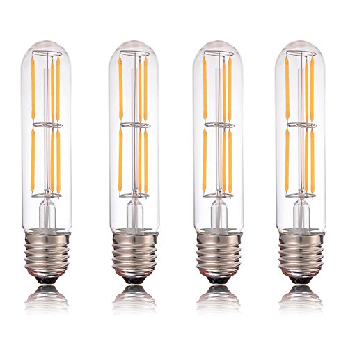 Century Light - 6W Vintage Tubular Light Bulb Dimmable , LED Filament Bulb UL Listed , E26 Base decorative bulbs , 60W Equivalent , Warm White 2700K, 4-Pack