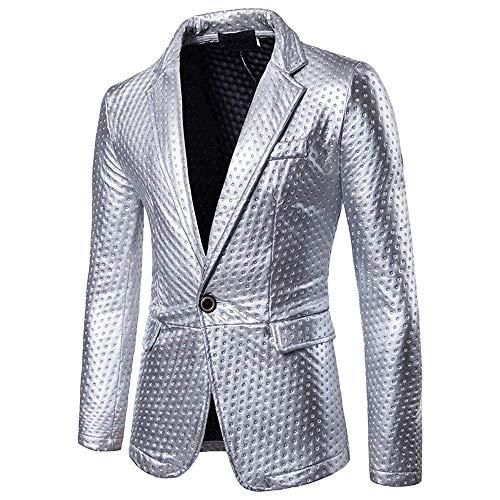 Abito Silber Maniche A Elegante Con Lungo Lunghe Farbe Uomo Essenziale Blazer Slim Da Giacca Fit Pulsante qaxRtpw
