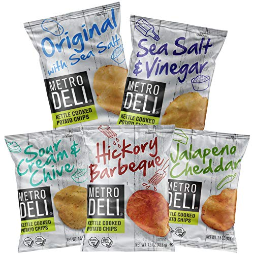 Metro Deli Variety Pack Sampler, Kettle Cooked Potato Chips, 5 Different Flavors, 1.5 oz bags, by Variety Fun (20 Count)
