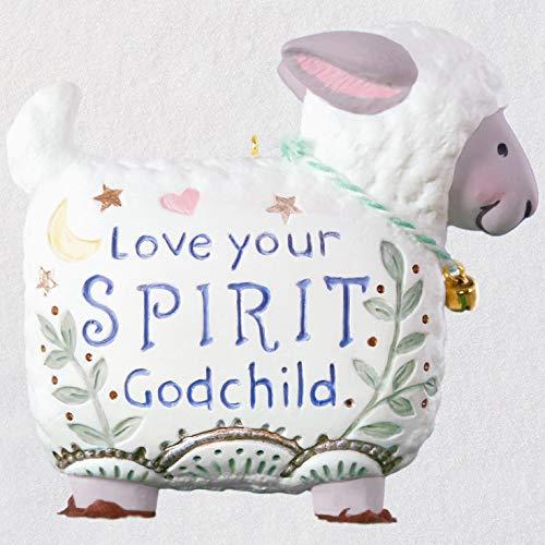 Hallmark Keepsake Keepsake 2019 Year Dated Love Your Spirit, Godchild Lamb Porcelain Ornament,