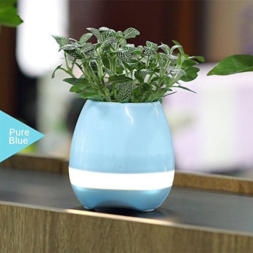 Smart Music Plant Flowerpot Turnon LED Bluetooth Speaker Wireless Night light Piano Rechargeable House office Decor festival gift(blue)